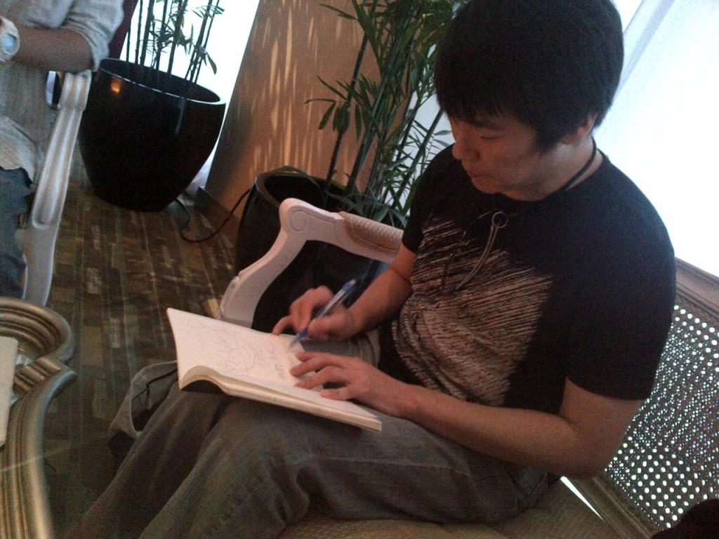 Kobun Shizuno writing a letter