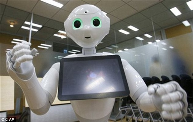 Popular: The first 1,000 Pepper robots (pictured) sold out within one minute of going on sale in Japan this June