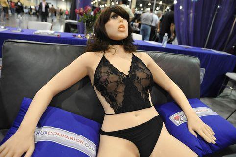 "The ""True Companion"" sex robot, Roxxxy, on display at the TrueCompanion.com booth at the AVN Adult Entertainment Expo in Las Vegas, Nevada, January 9, 2010"