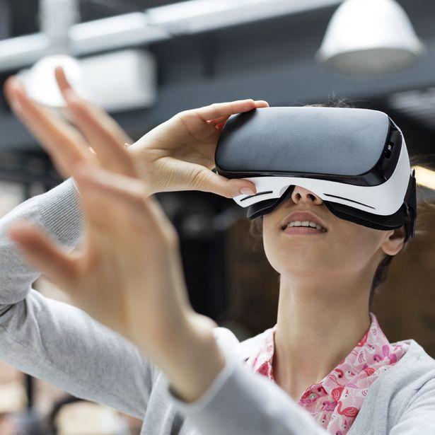Woman trying virtual reality headset